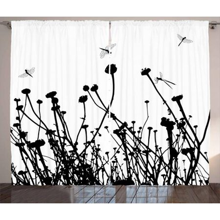Black and White Curtains 2 Panels Set, Meadow Flowers and Dragonfly  Silhouettes Spring Nature Illustration, Window Drapes for Living Room  Bedroom, ...