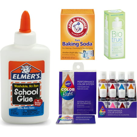 Elmers Slime Supplies Needed1 TBSP of Baking Soda 2 TBSP of Contact lens solution 8 fl oz of Elmers White school glue Your choice of food coloring