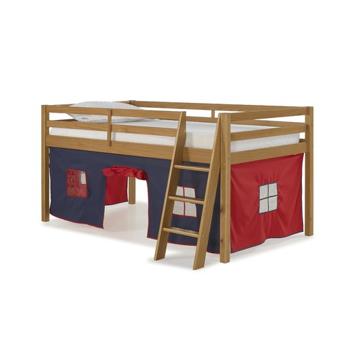 Roxy Junior Loft Bed with Blue and Red Tent, Cinnamon