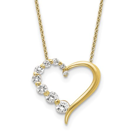 925 Sterling Silver Vermeil CZ Heart Journey Necklace