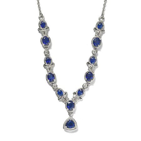 """Shop LC 925 Sterling Silver Trillion AAA Blue Spinel Zircon Necklace Platinum Plated Bridal Anniversary Engagement Wedding Size 18"""" Ct 3.3 For Women Jewelry"""
