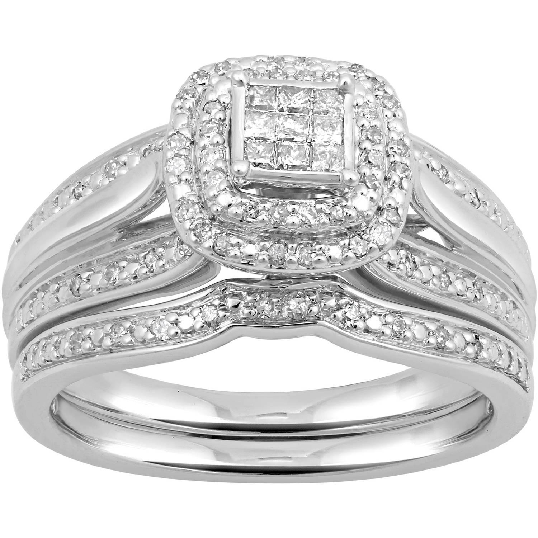 Forever Bride 1/3 Carat T.W. Princess Quad Sterling Silver Bridal Set