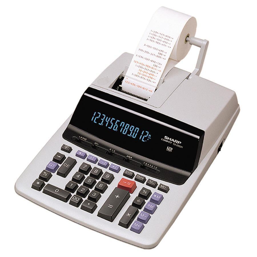 Sharp Calculators, SHRVX2652H, VX-2652H 12-Digit Heavy-Duty Commercial Printing Calculator, 1 Each, Off White,Gray