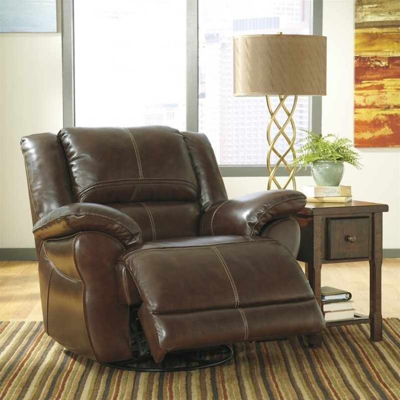Ashley Furniture Lenoris Leather Swivel Power Recliner in Coffee