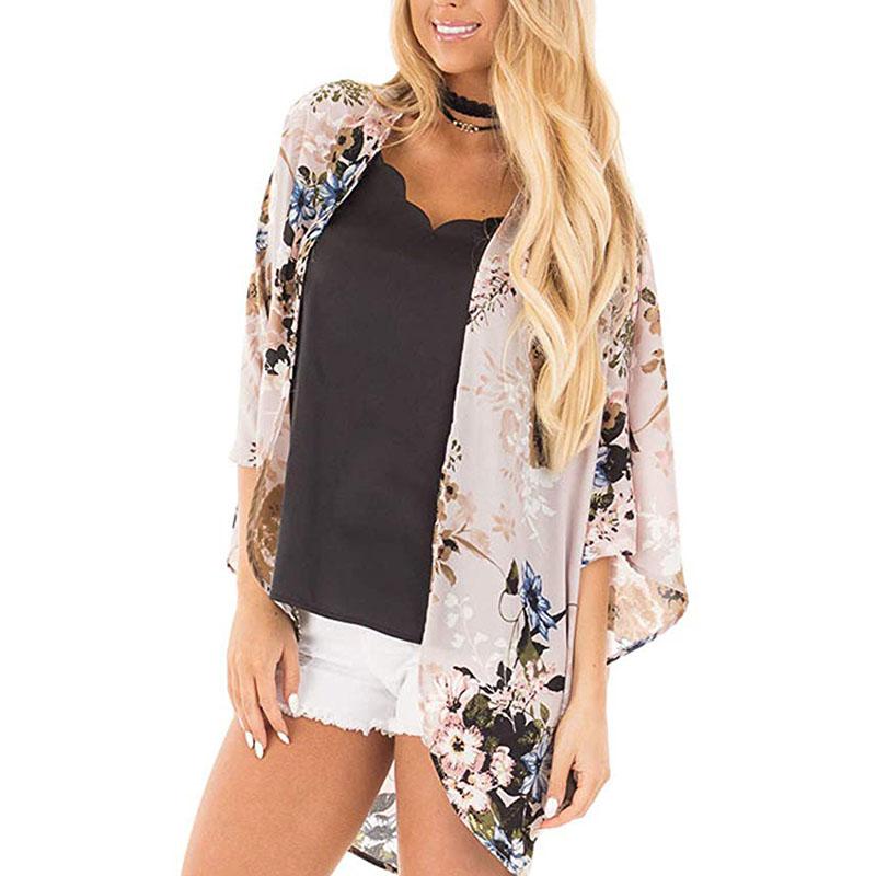 Womens Floral Chiffon Cardigan Tops Beach T-shirt Cover Up Casual Shawl Kimono
