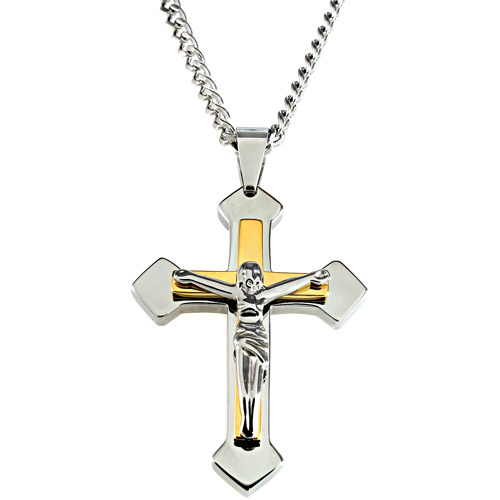 Men's Yellow and White Stainless Steel Crucifix Pendant, 24""