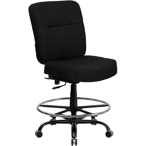 Flash Furniture Hercules Series Big and Tall Fabric Drafting Stool with Arms, Black