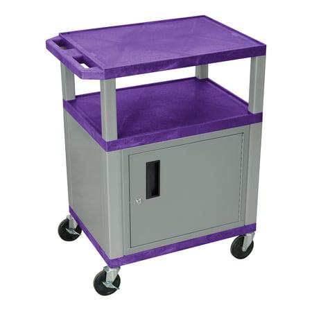 Tuffy Plastic AV Cart w Casters in Purple & Nickel 42' Adjustable Height Av Cart