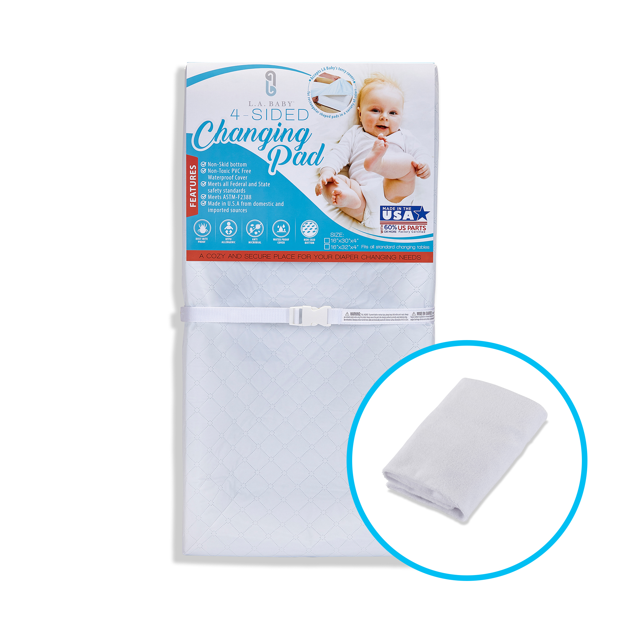 L. A. Baby Combo Pack with 32'' 4 Sided Waterproof Changing Pad and White Terry Cover
