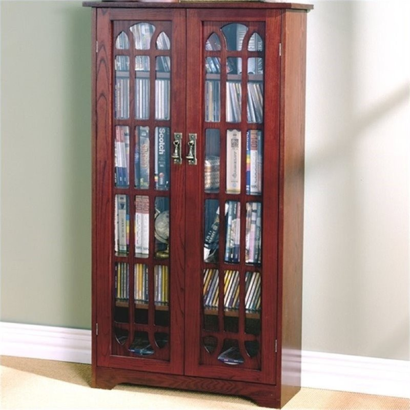 """Bowery Hill 48"""" Window Pane Media Cabinet in Cherry by Bowery Hill"""