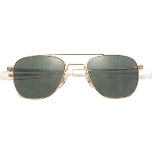 AO Original Pilot Sunglasses with 55mm Bayonet Temples and True Color Gray Glass Lenses