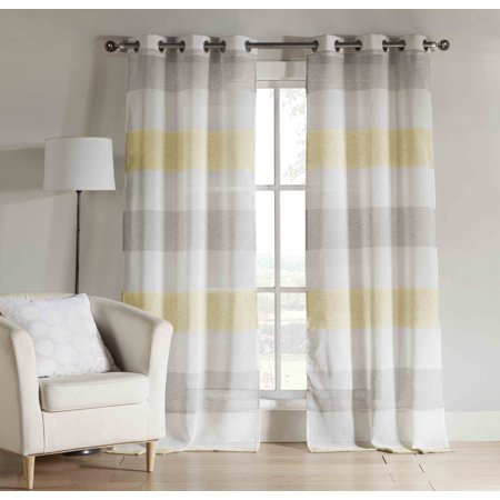 Yellow and Gray Sheer Window Curtain Panel Pair: Grommet ...