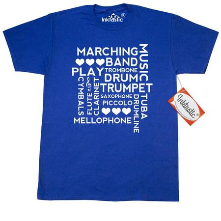 Inktastic Marching Band Music Words T-Shirt School Instruments Musical  Drumline Trumpet Trombone Clarinet Flute Saxophone Best T Shirts Mens Adult