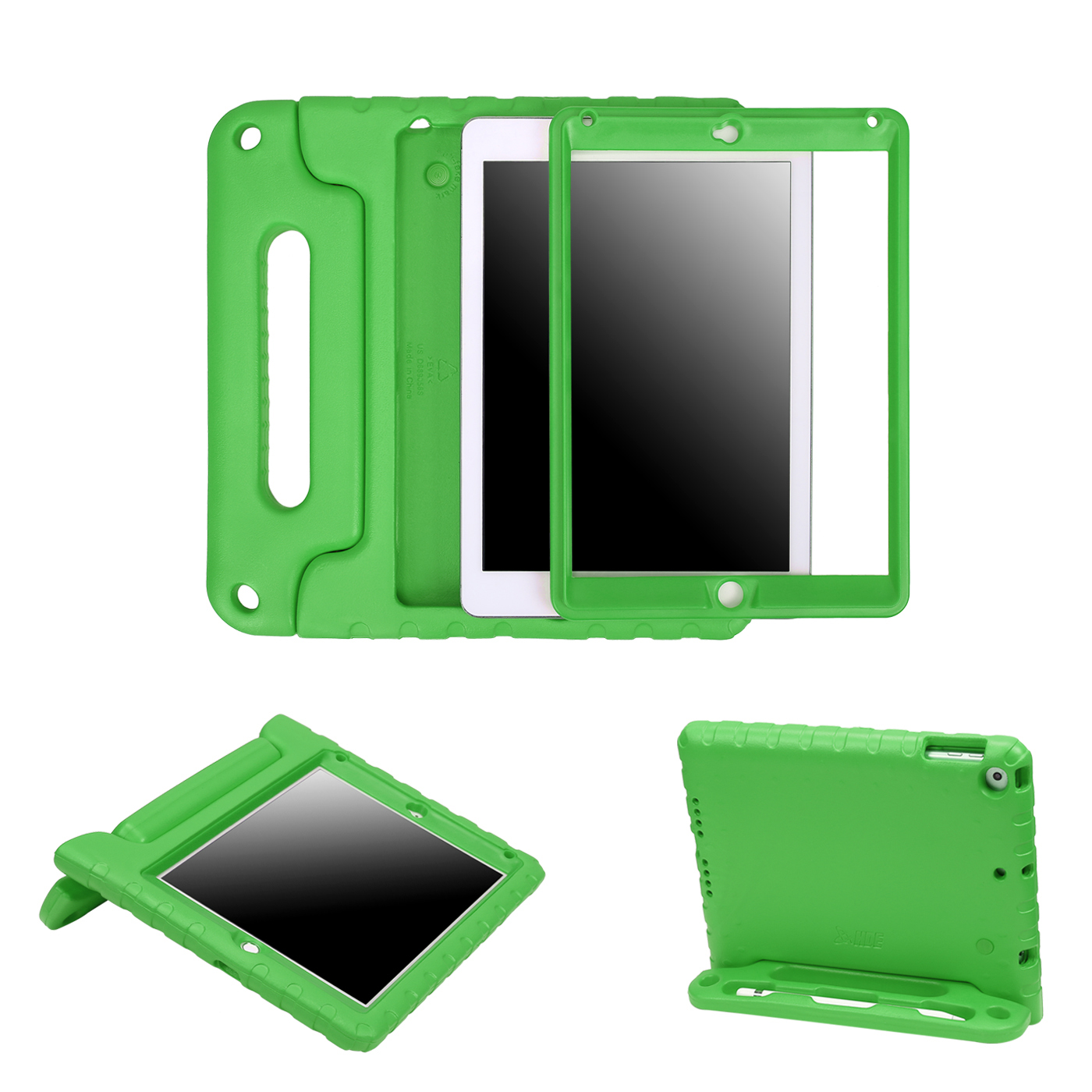 HDE iPad 9.7 Shock Proof Case for Kids - 2018 6th Generation iPad Bumper Cover with Built In Screen Protector and Apple Pencil Holder for All New Apple 9.7 Inch Education Tablet - Green
