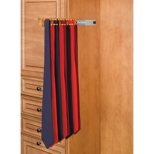 Rev-A-Shelf CWSTR-20-1 CWSTR Series 20 Inch Side Mount Sliding Maple Tie Rack for up to 34 Ties