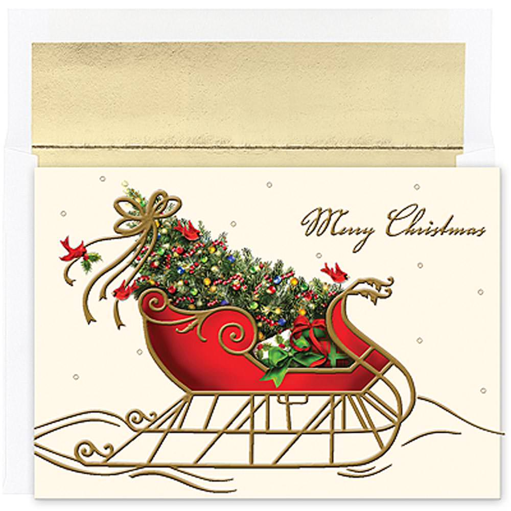 JAM Paper Christmas Card Sets, Holiday Sleigh, 16/pack