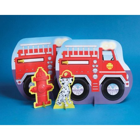 Pack of 12 Firefighter Birthday Party Stand Up Centerpiece Decorations 15.5