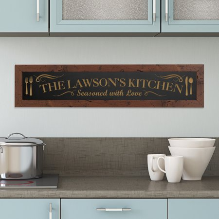 Personalized Seasoned with Love Framed Wood Sign - Black