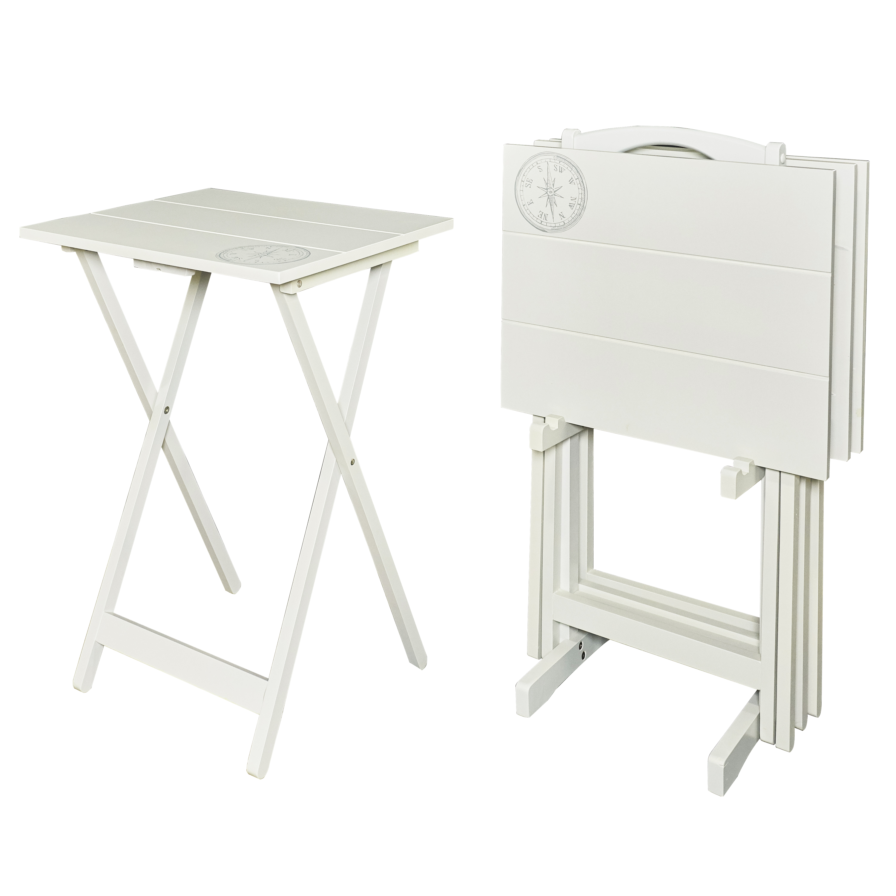 Riverbay Furniture 5 Piece Tray Table Set in White and Black