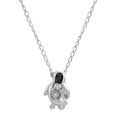 Penguin Charm Pendant - Amanda Rose Diamond Penguin Pendant in Sterling Silver