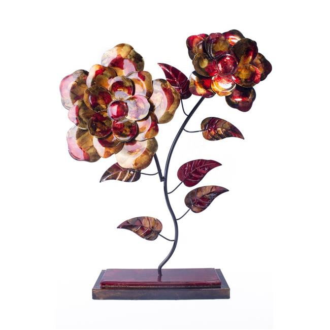 Heather Ann W08999-06 Flora 2 Bloom Foiled and Lacquered Table Top Decorative Object, Copper, Red & Gold - image 1 de 1