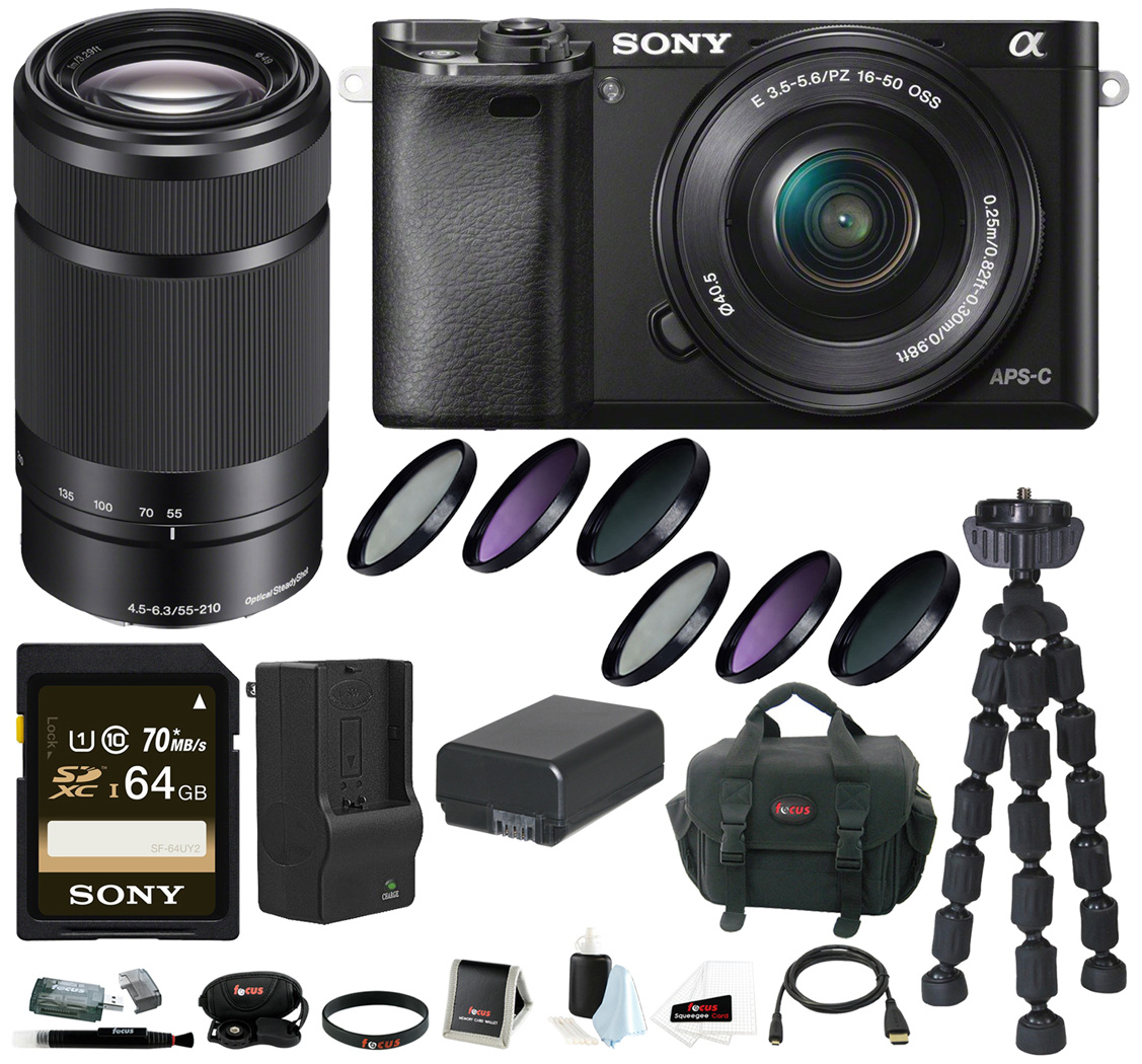 Sony Alpha A6000 Mirrorless Digital Camera with 16-50mm and 55-210mm Lens Bundle and 64GB Deluxe Accessory Kit