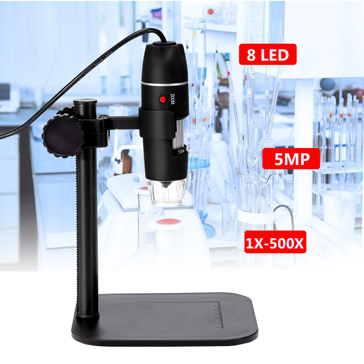 5MP 8 LED USB Digital Camera Microscope Magnifier with Black Stand 1X-500X 5V DC