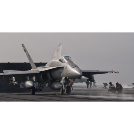 An Fa 18C Hornet Ready To Launch From The Flight Deck Of Uss George Hw Bush Canvas Art   Giovanni Collastocktrek Images  39 X 21