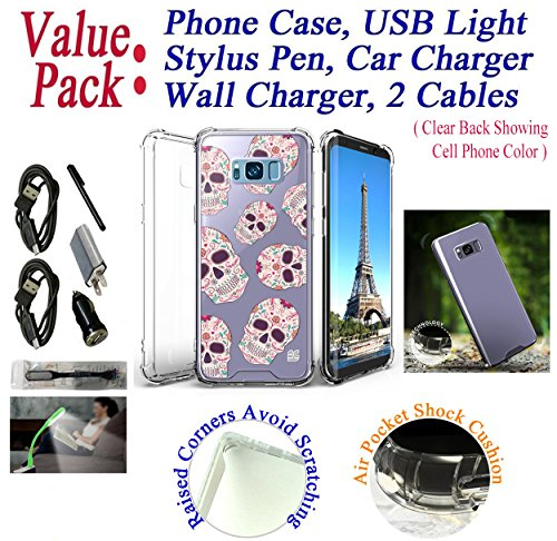 "Value Pack Cables + for 6.2"" Samsung Galaxy S8 + PLUS Case Bumper Phone Case Clear Back Raised Corner Lifted Screen & Camera Shock Slim Cover Butterfly"