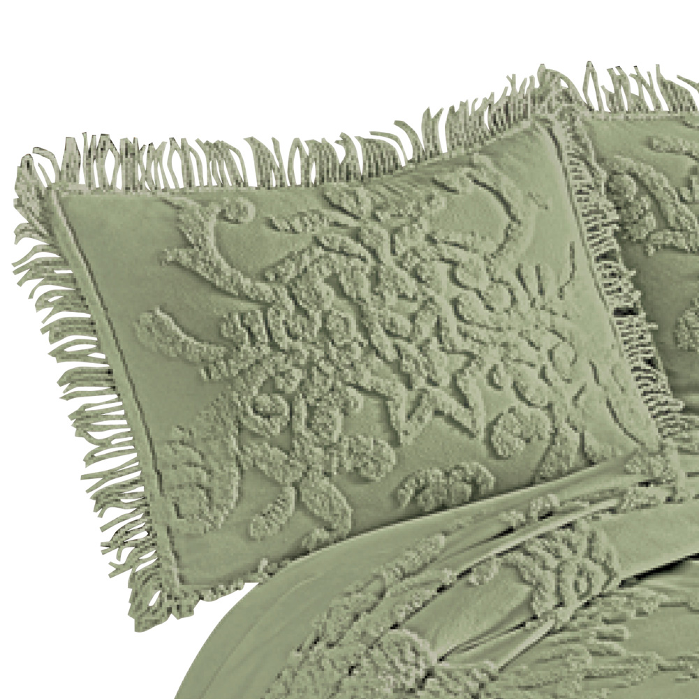Cottage Charm Floral Lattice Chenille Pillow Sham with Fringe Edging, Standard, Sage