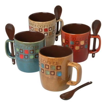 14 Ounce Set - Mr. Coffee 90592.08RM Café Americano 8Piece 14 Ounce Mug Set with Spoons, Assorted Styles/Color