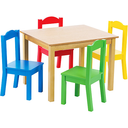 Tot Tutors Kids Wood Table and 4 Chairs Set Multiple Colors  sc 1 st  Walmart.com : cheap childrens table and chair sets - pezcame.com