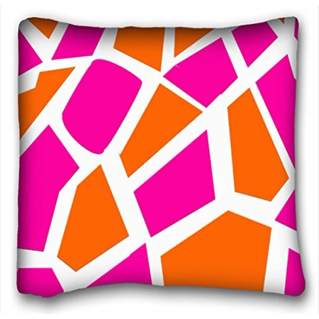 WinHome Funky Hot Pink Orange Giraffe Print Pattern Throw Pillow Case Cases Cover Cushion Covers Sofa Size 18x18 Inches Two Side (Hot Pink Giraffe Print)