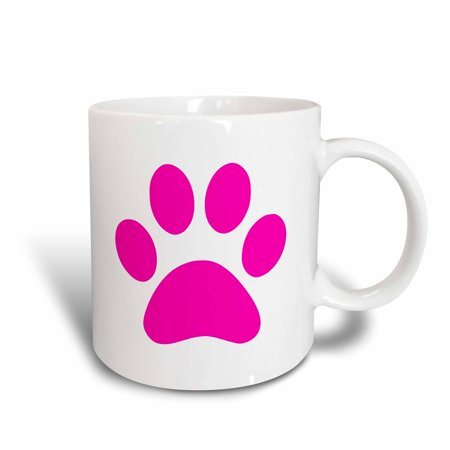 Footed Ceramic (3dRose Hot Pink paw print on white - girly animal pawprint - cute cartoon animal footprint - foot print, Ceramic Mug, 11-ounce )