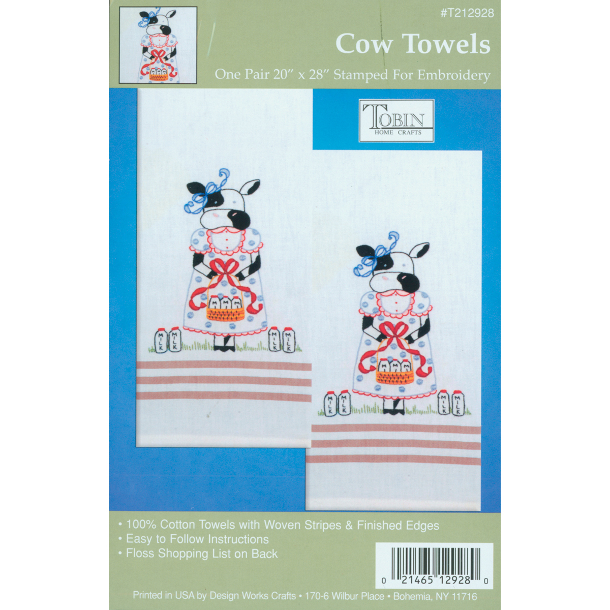 Tobin Cow Stamped Kitchen Towels For Embroidery