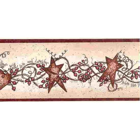 Heart Wallpaper - 873382 Stars, Hearts and Berries Wallpaper Border (red trim) BBC65171b