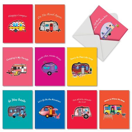 10 Pack 'Happy Campers' All Occasion Blank Greeting Cards - Bulk Boxed Set of Assorted Mini Note Cards with Envelopes - Adventure, Travel and Road Trip Stationery 4 x 5.12 inch AM6413OCB-B1x10 Mini