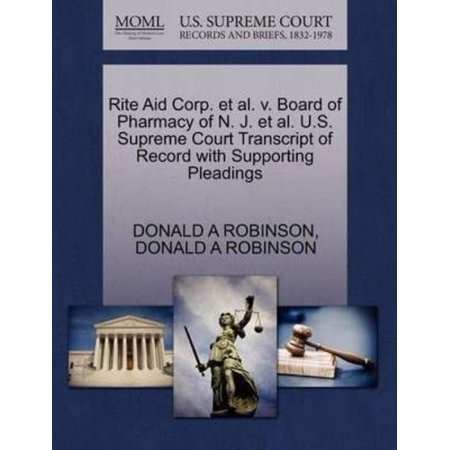 Rite Aid Corp  Et Al  V  Board Of Pharmacy Of N  J  Et Al  U S  Supreme Court Transcript Of Record With Supporting Pleadings
