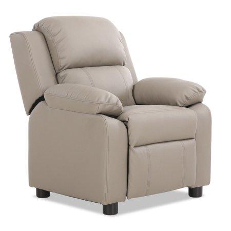 Deluxe Kids Armchair Recliner Headrest Sofa w/ Storage Arms -