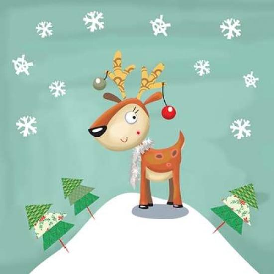 Snowy Reindeer Rolled Canvas Art - PS Art Studios (24 x 24)