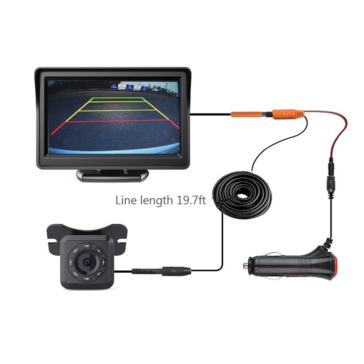 "4.3"" TFT LCD Monitor Car Backup Camera Rear View Parking Assistance System Night Vision"
