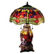 Avalon Double-Lit Red Dragonfly Table Lamp