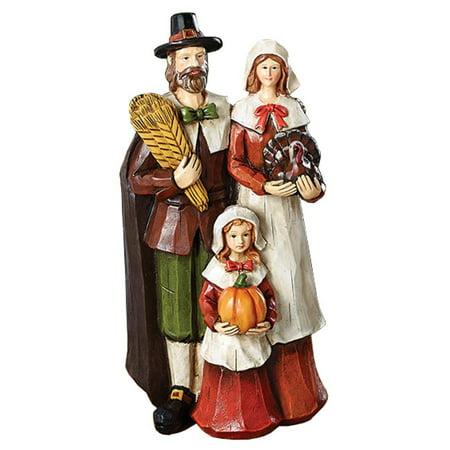 Burton Thanksgiving Pilgrims Mother Father Child Harvest Family Fall Thanksgiving Figurine (Pilgrim Figurines)
