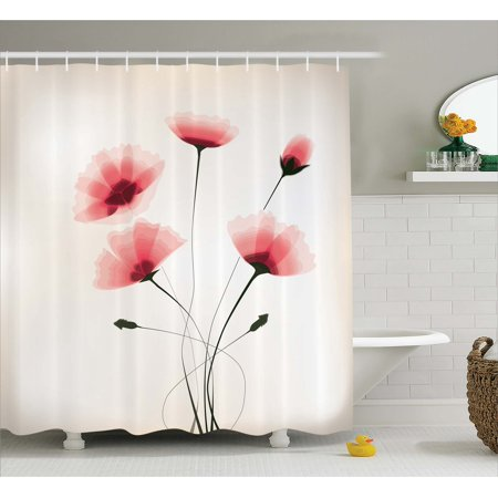 Abstract Decor Shower Curtain, Pure Romantic Cool Simple Natural Flower with Blossoms Artwork, Fabric Bathroom Set with Hooks, 69W X 70L Inches, Pink Green and White, by Ambesonne ()