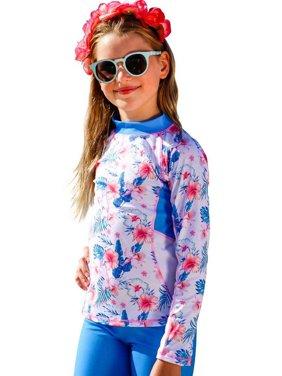 Sun Emporium Girls Ocean Blue White Printed Long Sleeve Rash Guard