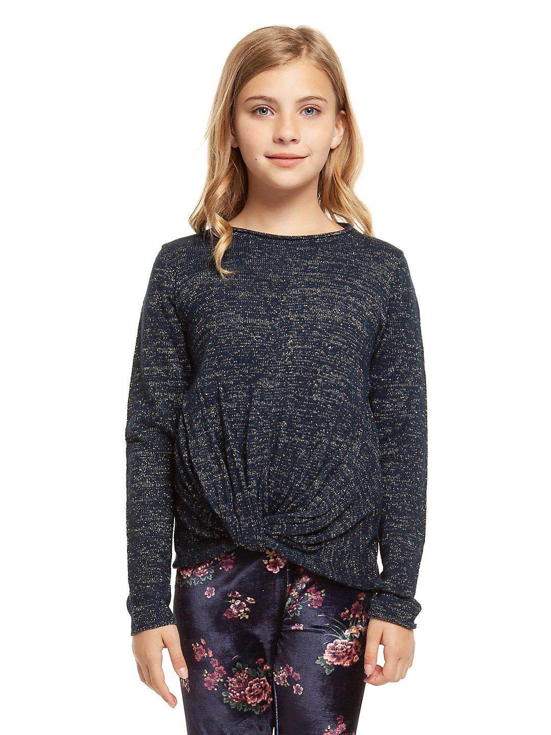 Girl's Knotted Hem Pullover