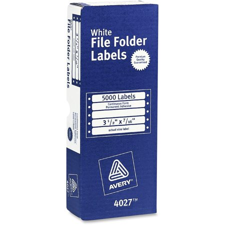 Avery File Folder Labels for Dot Matrix Printers, White, 3-1/2 x 7/16, 5000/Box (4027)