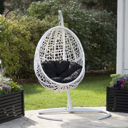 Belham Living Resin Wicker Blanca Hanging Egg Chair with Cushion Color Option and Stand ()