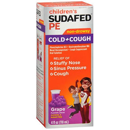 Sudafed PE Children's Cold Cough Liquid Grape - 4 (Home Remedies For Cold And Cough In Newborns)