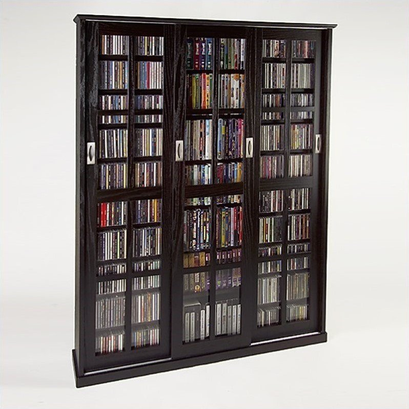 "Leslie Dame 61"" Triple CD DVD Wall Media Storage Cabinet in Espresso"
